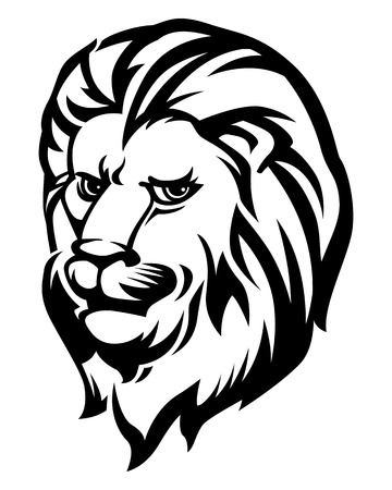 head icon: Lion Head Black and White, Vector illustration.