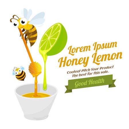 Honey lemon mix with herbal food, vector illustration.