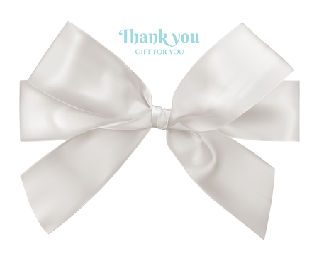 holiday invitation: White ribbon and bow, vector illustration.