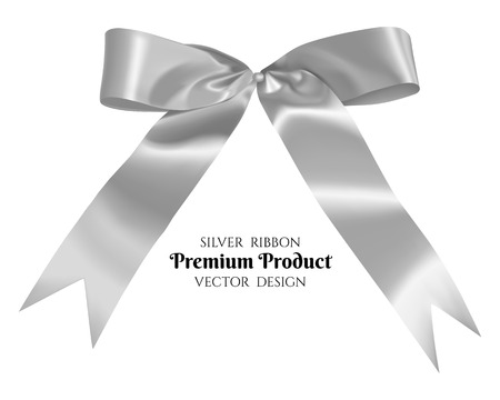 holiday invitation: Silver ribbon and bow, vector illustration.