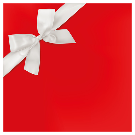 gift bow: Invitation with white ribbon on red background, vector illustration. Illustration