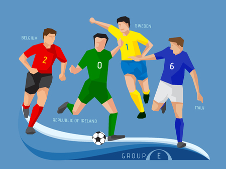Soccer players 2016, polygon, simple design.