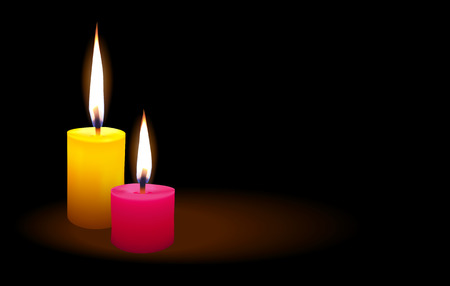 Candle lit a light in the darkness, vector illustration.