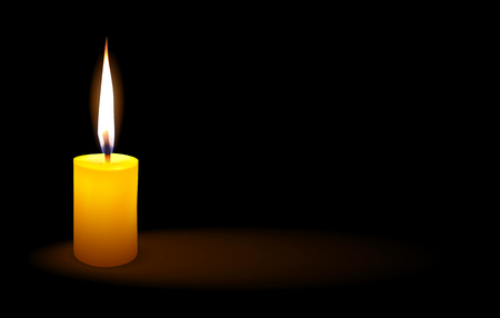 Yellow candle lit a light in the darkness, vector illustration. Illustration