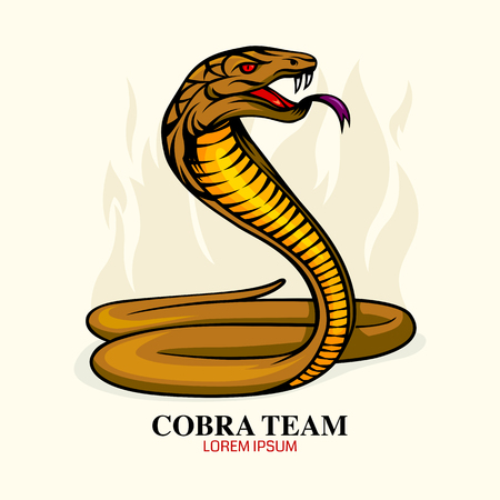 serpent: Cobra snake icon, mascot, comic, vector illustration.