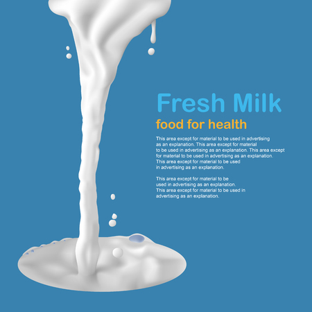 Milk splashes blank space for your advertisement, info-graphic, illustration.