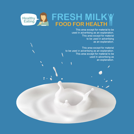 woman drinking milk: Milk splashes blank space for your advertisement, info-graphic, illustration.