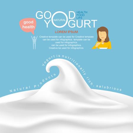 Producten van zuivel en yoghurt infographic, illustratie. Vector Illustratie