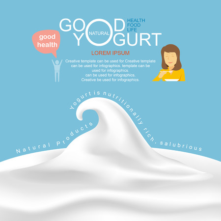 woman eating: Products of dairy and yogurt infographic, illustration. Illustration