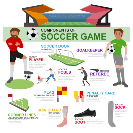 soccer field: Components of soccer game and info-graphic, illustration and flat design.