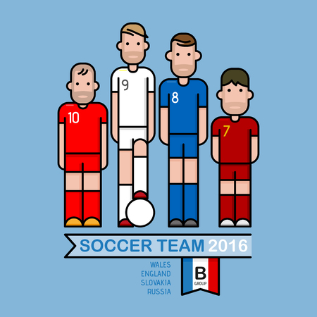 Soccer players, illustration flat and simple design.