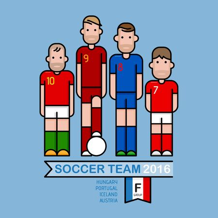 soccer players: Soccer players, illustration flat and simple design.