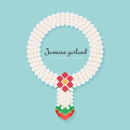 gigantea: Thai traditional jasmine garland, illustration vector simple and flat design.