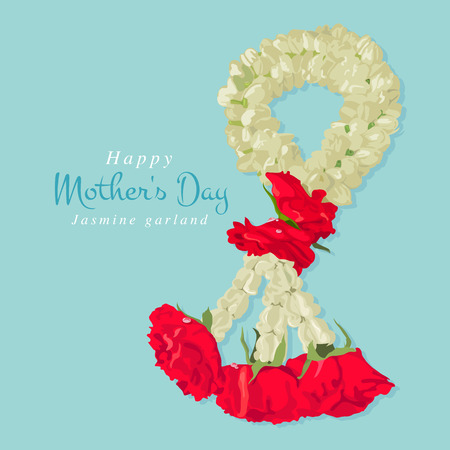 Happy mothers day, Thai traditional jasmine garland, illustration design.