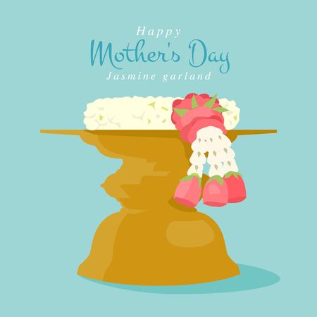 Jasmine garland on the tray with pedestal, and the tradition of Thailand to celebrate Mothers Day in Thailand, illustration simple design.
