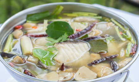 Spicy Soup with Catfish (Tomyum), Thai food, Thai traditional. Stock Photo