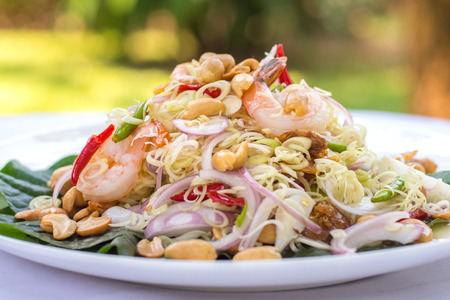 Lemongrass salad with shrimps, spicy, Thai traditional food. Stock Photo