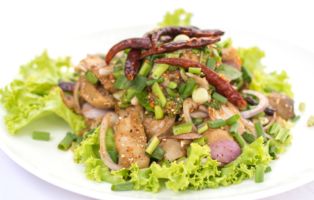 Straw mushroom salad with spicy, Thai traditional food.