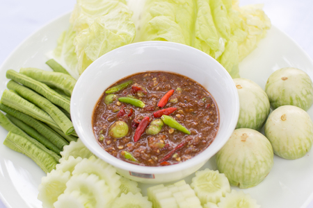 Paste chili with fresh vegetables, Thai traditional food. Stock Photo