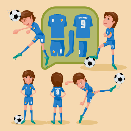 soccer uniform: Soccer players characters showing different movement and soccer uniform, illustration design.