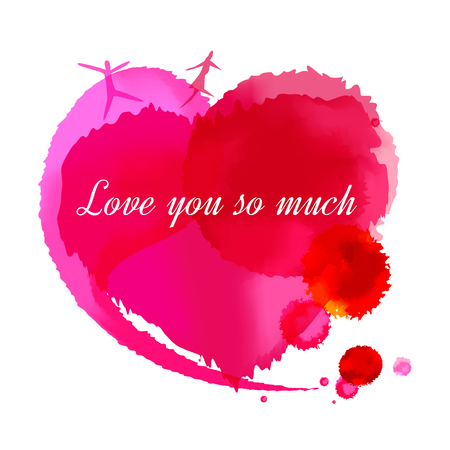 splash page: Love you so much Message written on watercolor heart shape, illustration design.