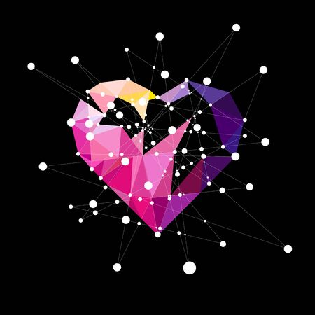 Heart polyhedron with colorful lines and molecules, love concept, illustration and design.