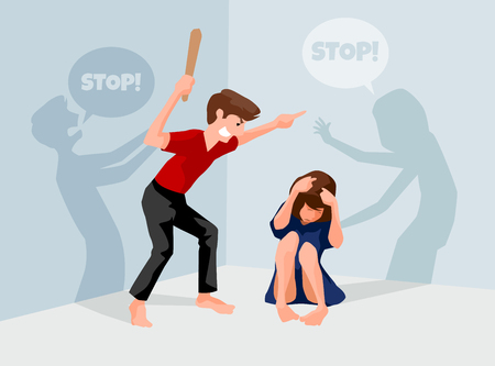 Stop violence against women, A man attacked a woman sitting on the floor, illustration design. Ilustração