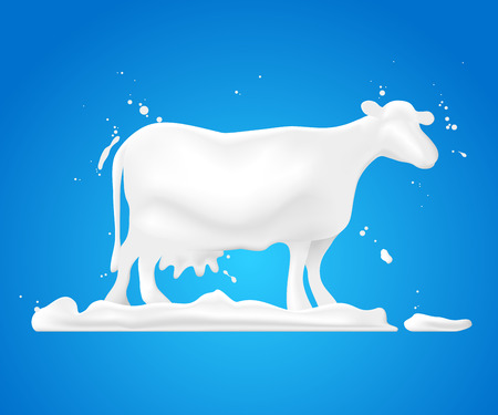 udders: Abstract shape white cow on grass and splash milk, illustration design.
