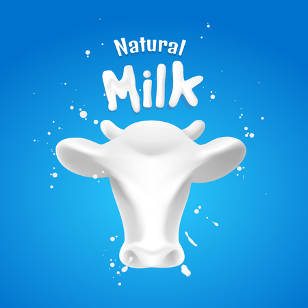 The head of an abstract cow with milk splash on the blue scene, illustration design.