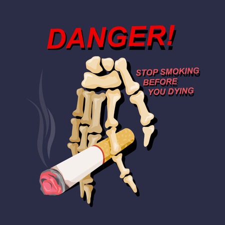 Hand skeleton with cigarettes, danger signs against you. And the environment, illustration design.