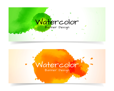 drop water: Banner with abstract watercolor painting design Illustration