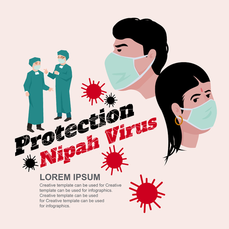 Protection Nipah Virus infection (NiV) is both human and animals, vector illustration and design.