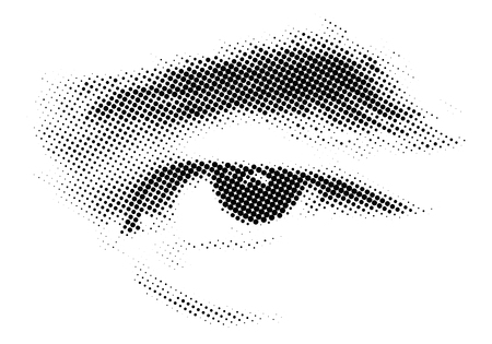 Human eye halftone technic printing, vector illustration and design.