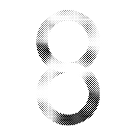 Abstract pattern, number eight Or the infinity symbol with halftone printing technic, vector illustration design.
