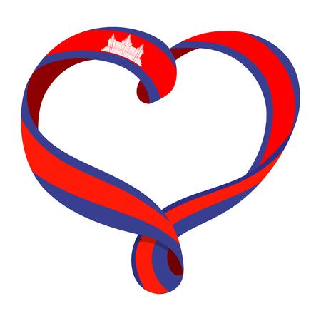 Cambodia flag ribbon-shaped heart, symbol of love and harmony, vector illustration.
