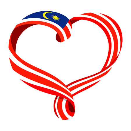 Malaysia flag ribbon-shaped heart, symbol of love and harmony, vector illustration.