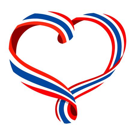 Thailand flag ribbon-shaped heart, symbol of love and harmony, vector illustration.