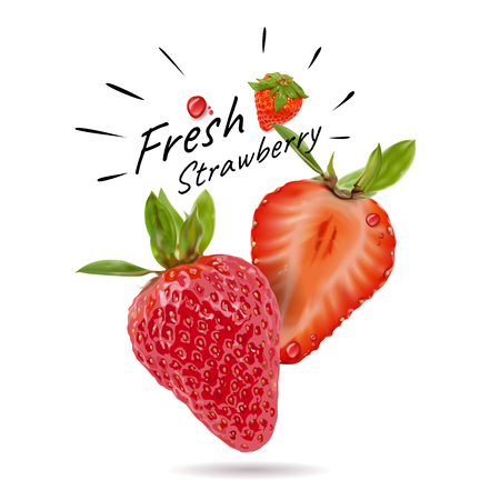 Fresh strawberry, colorful fruits and high nutritional value, vector illustration and design.