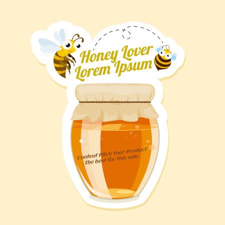 Étiquette d'amant de miel avec des abeilles et un pot, publicité, illustration vectorielle.
