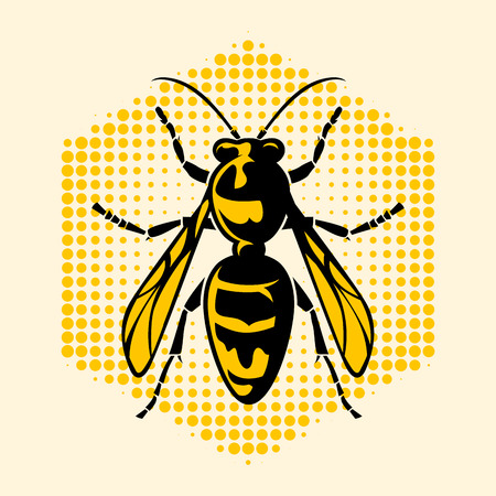 The hornet icon and symbolic, vector illustration.