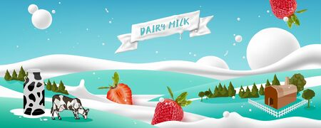 Dairy farms and pastures with milk and strawberry flowing on scenery background, dairy products, vector illustration and design. Foto de archivo - 135566442