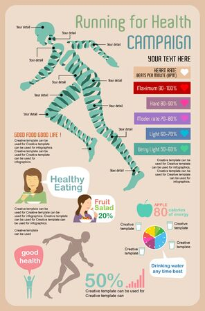 Benefits of Running for health Infographic, vector illustration and flat design.  イラスト・ベクター素材