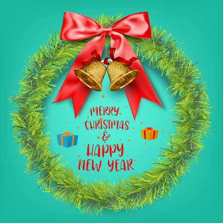 Merry Christmas and Happy New Year Wreath Background, vector illustration and design., vector illustration and design. Foto de archivo - 134946465