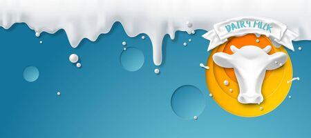 Pour milk on a blue background, template for advertisement, vector illustration and design. Foto de archivo - 135021400