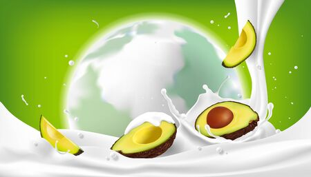 Avocado fruit on milk splash and a green background with globes, nutritious eating concepts And preserve the world, vector illustration and design. Foto de archivo - 135626809