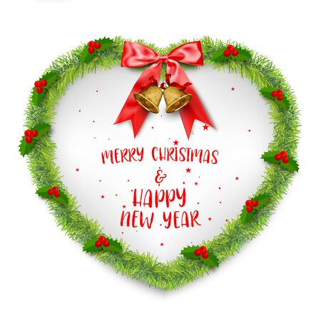 Merry Christmas and Happy New Year Wreath Heart Background, vector illustration and design. Foto de archivo - 135927375