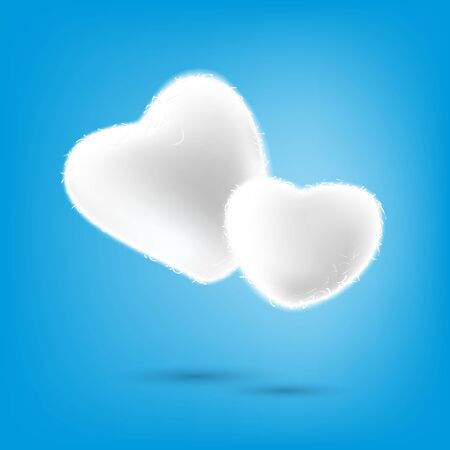 Cotton wool heart shape on blue background, love concept, vector illustration and design. 일러스트
