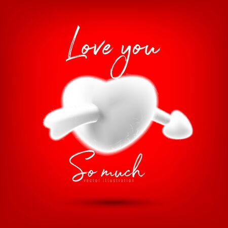 An arrow through the heart with a white cotton ball, love concept, vector illustration and design.