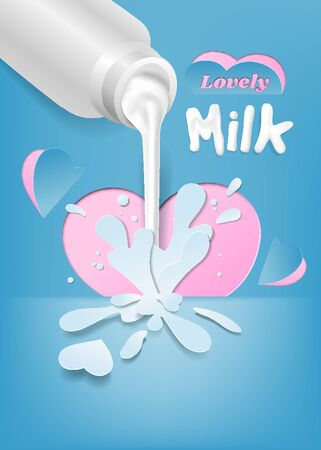 Pour milk from the bottle with the art of paper cutting and the concept of love, vector illustration and design.