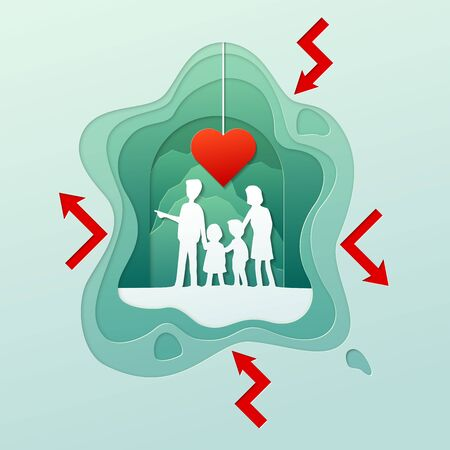 Vector illustration with paper cut style, Family protection relationship, Family concept.